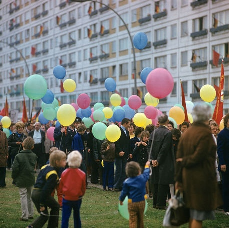 Scene from the May-Demonstration 1974 in Berlin.