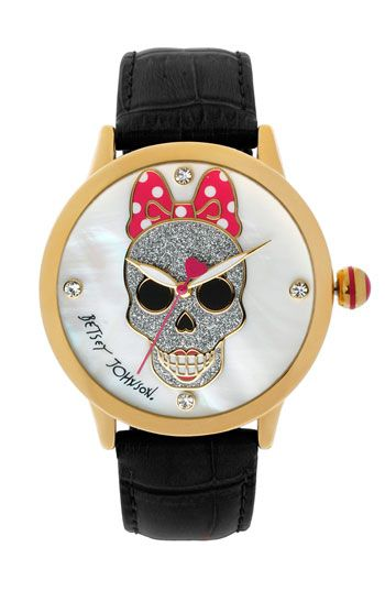 Betsey Johnson Skull Dial Leather Strap Watch