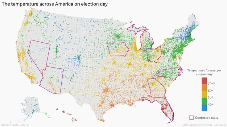Map showing temperatures in the US on election day.