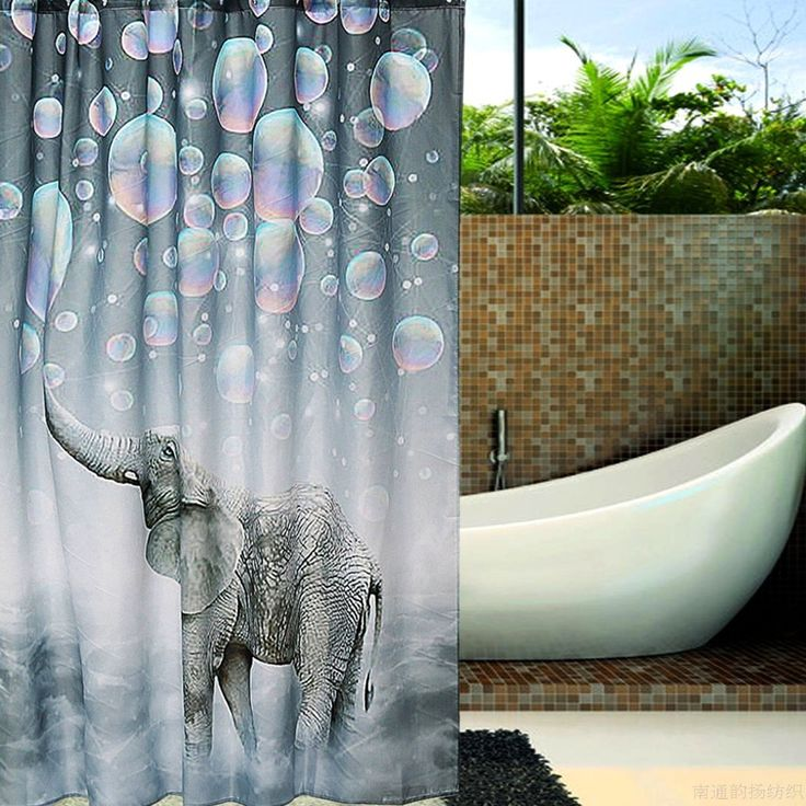 150 x 180cm Elephant Print Waterproof Bathroom Shower Curtain Panel Block Decor With Hooks