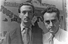Dalí (left) and fellow surrealist artist Man Ray in Paris on June 16, 1934.