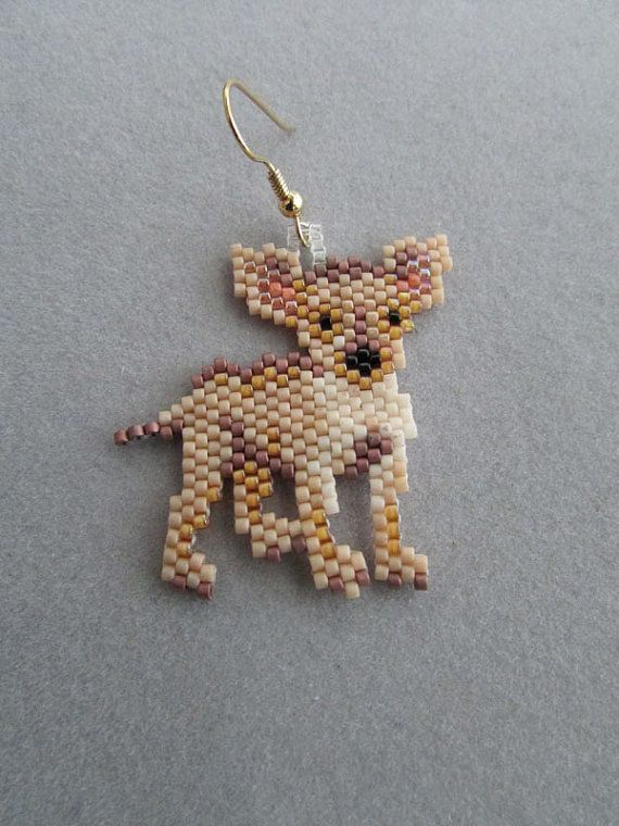 Chihuahua Earrings in delica seed beads | beads ...