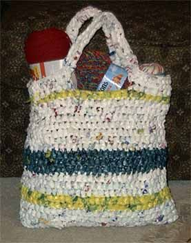 grocery bag made out of plastic bags, crochet with m hook, and waterproof too.  I have seen it done without the hook too. @Jerri Caudill Alligood  found you a purse for the thrift store formal!