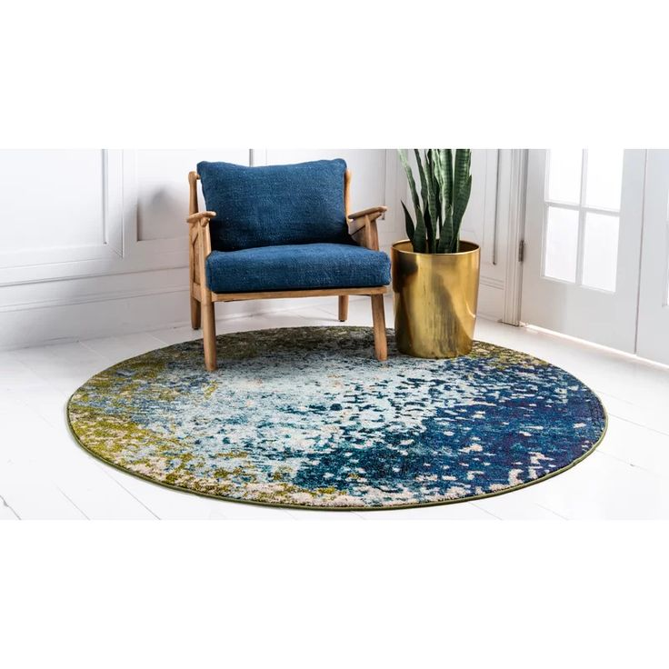 Hayes Power Loom Blue/Green Rug in 2020 Round area rugs
