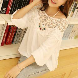 Ucuz Bluzlar ve Gömlek Doğrudan Çin Kaynaklarında Satın Alın:  2014 sıcak satış Kore tarzı kaliteli tatlı dantel kesme kadın gömlek yapımı tığ cape yakalı gevşek şifon bluz f087özellikleri___________________________________________100% yeni bluz Ülkeye fab