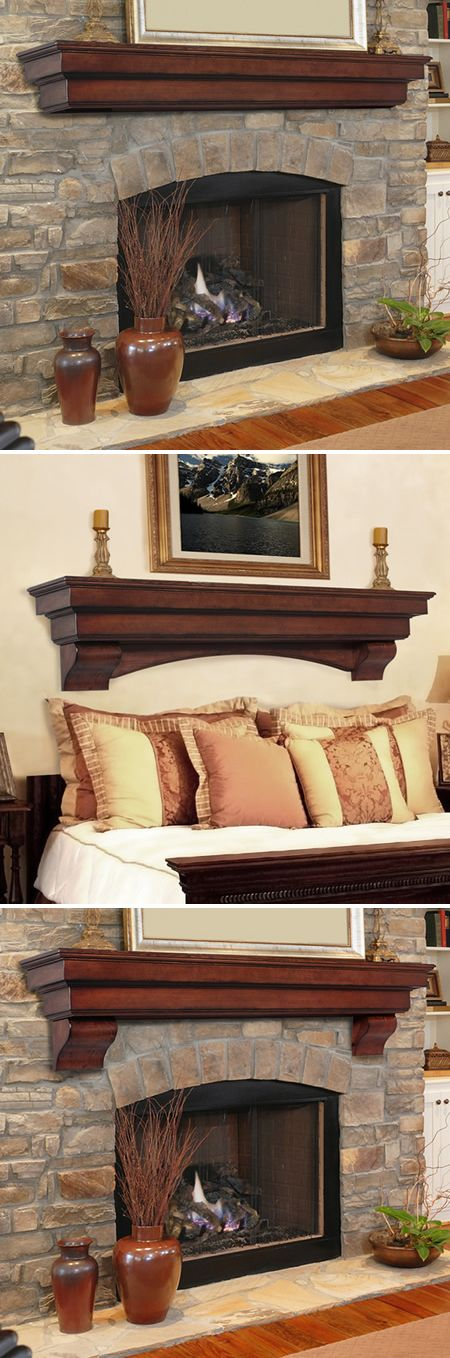 Hand crafted from Asian hardwoods and veneers that arrive with a rich cherry distressed finish. Use over the hearth, in the bedroom, bathroom, kitchen, den or anywhere you need a little something extra for storage or treasures. | Auburn Cherry Distressed Fireplace Mantel Shelf | WoodlandDirect.com