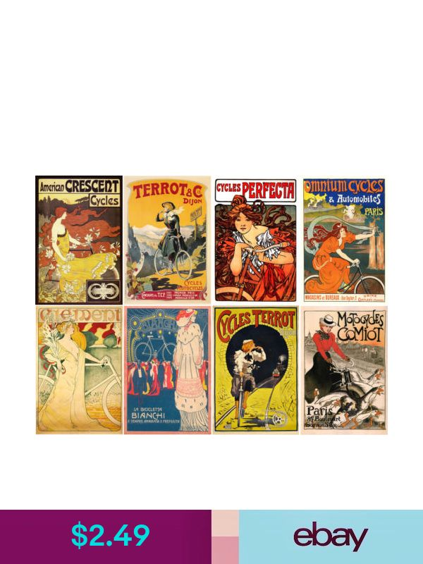 "8 pics 2.5/""x3.5/"" each Stickers Vintage Sport Poster Bike Cycle FLONZ 441-0214"