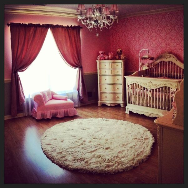 A Little Princess Nursery Design: Love! Chandelier, Stencil Wall, White Princess Bed, Fur