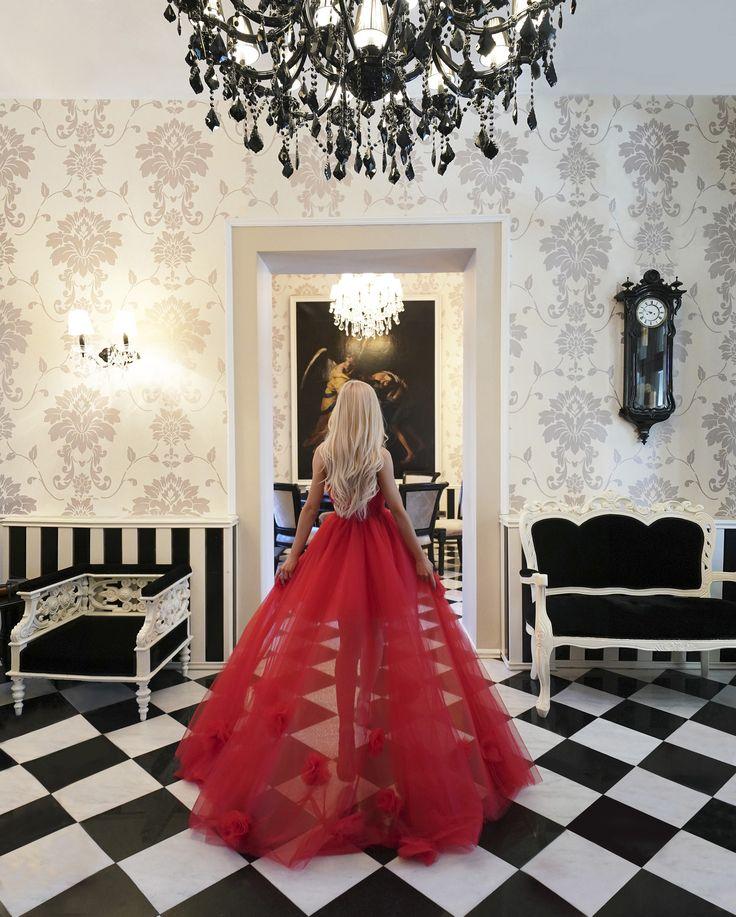 Rochie Banchet Rosie Lunga Printesa Trena AngeAtelier - AngeAtelier.ro  Tulle Red Prom Dress <3 Princess Dress