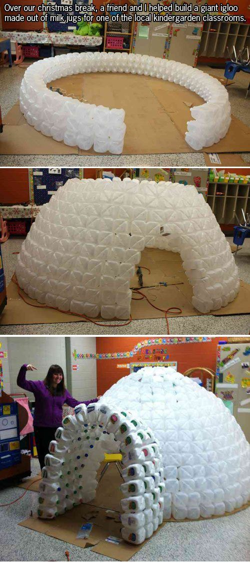 I reallyyyyy want to make this with the summer camp class I'm teaching this year! Now how can I get a million empty jugs. Lol ;)