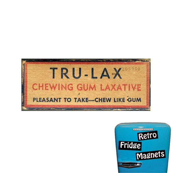 Funny TruLax  Chewing Gum Laxative by RetroFridgeMagnets on Etsy, $2.00