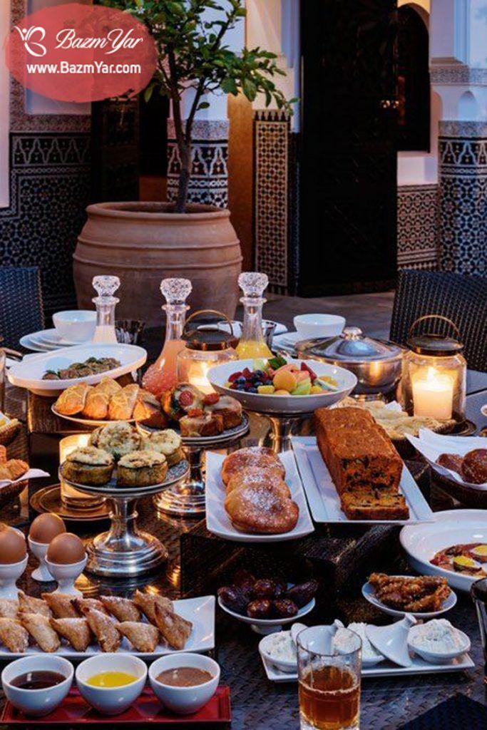 سفره افطار عربی مجلل Morrocan Food Moroccan Food Moroccan Breakfast
