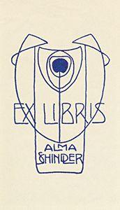 J. Hoffmann, Exlibris Alma Schindler, um 1901, Klischee (60 x 42 mm)