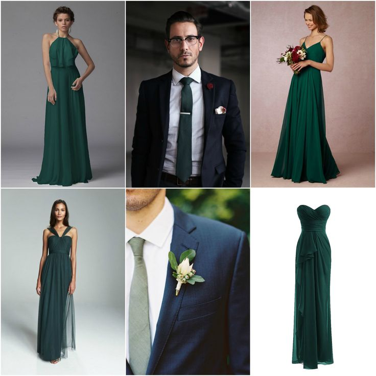 Collage For Wedding: Navy Dark Blue Suits Forest Green
