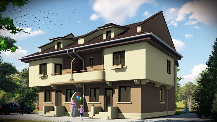 Case cuplate in oglinda- Vedere zona acces secundar | Duplex single-family homes- View from the backyard | Etichete: proiecte case, proiecte case avantajoase ca pret, case pentru doua familii, case pentru doua generatii