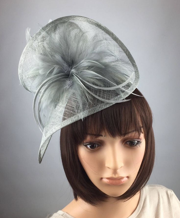 Excited to share the latest addition to my #etsy shop: Silver Grey Fascinator Sinamay & Feathers Twist Fascinator Hat Occasion Wedding Ascot Races occasion fashion accessory #accessories #weddings #sinamayfascinator #teardrop #twowayfascinator #weddinghat #churchhat #hairaccessories #hairdecoration