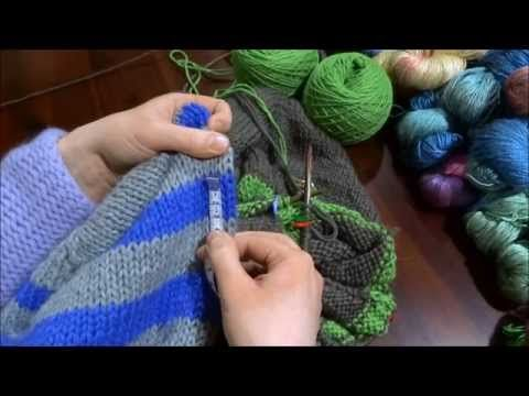 RVO - Raglan von oben Pullover stricken mit Rund-Ausschnitt u Streifen (Teil 4 von 8) - YouTube