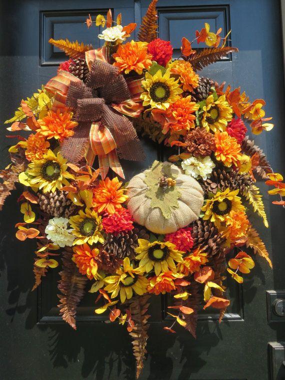 Thanksgiving Door Wreath Fall Door Wreath by hollyhillwreaths