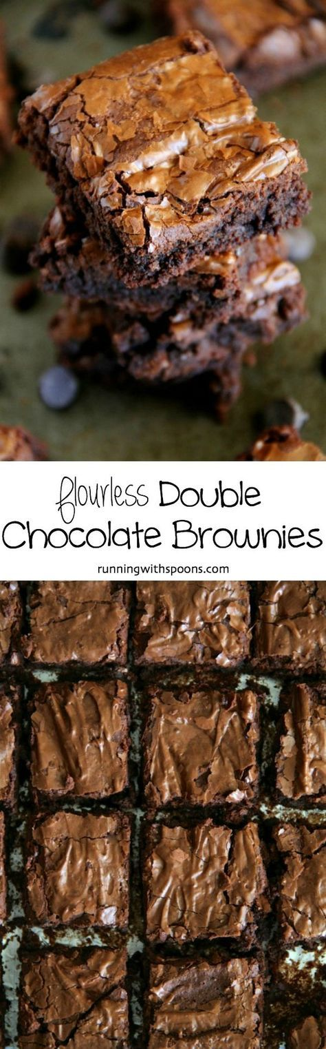 Flourless Double Chocolate Brownies - naturally gluten-free and made without beans!    runningwithspoons.com #glutenfree #brownies #chocolate