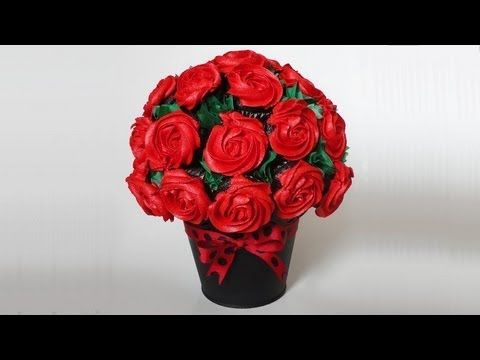 "▶ Cupcake Rose Bouquet for Valentine's Day - YouTube | Combine some techniques from this and some from ""How to make a Cupcake Flower Boquet"" and you should get the perfect one!"
