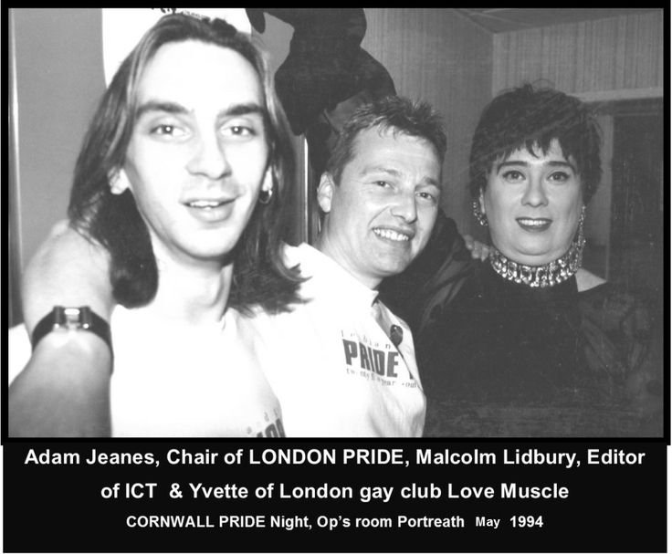 Adam Jeanes (Chair of London PRIDE), Malcolm Lidbury (Editor ICT newsletter) & Yvette Love Muscle Host...at CORNWALL GAY PRIDE night 1994, Op's Room, Portreath, Cornwall.  #LGBT  http://www.lgbthistorycornwall.blogspot.com