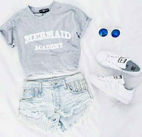 fashion, outfit, and clothes image grey gray tee t-shirt shirt casual idea ideas Tumblr sass sassy mermaid academy studded stud short shorts distressed torn ripped frayed adidas white tennis shoes active sporty teen teenager girl girl's women women's goals instagram printed style neutral