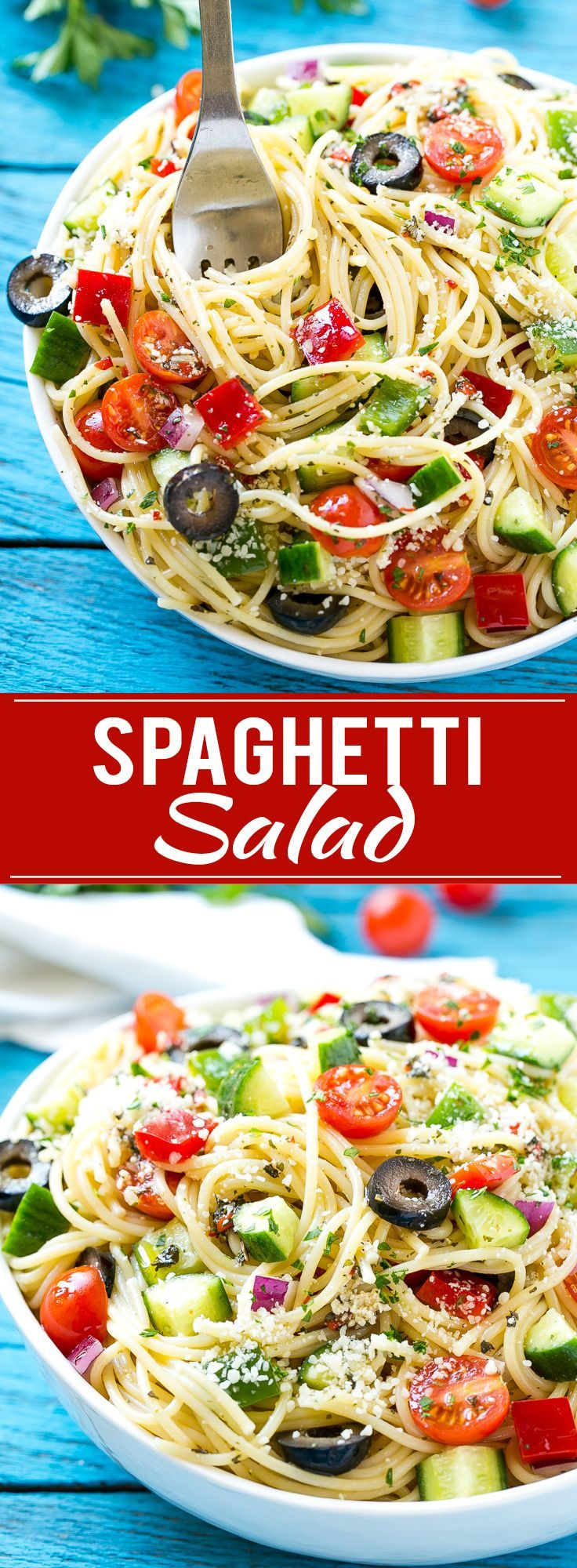 This recipe for spaghetti salad is a unique pasta salad full of crunchy vegetables and parmesan cheese, all tossed together in a homemade zesty Italian dressing. The perfect dish to feed a crowd when you're entertaining! #ecover #ad
