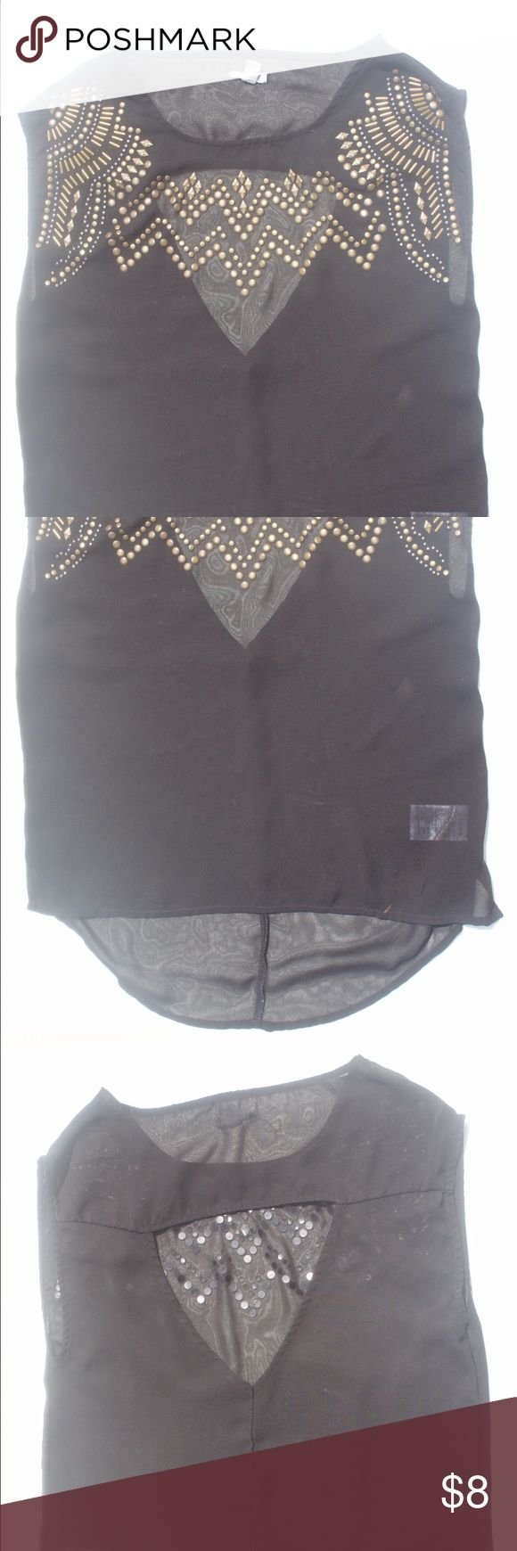 Closet triangle cut out back dress - Gold Studded Blouse With Triangle Back Opening A Black Sheer Exot Gold Studded Blouse With