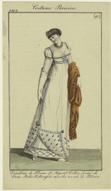 """""""Diadême de Fleurs et Argent, Collier formé de Croix, Robe Retroussée avec des noeuds de Pélerin"""", 1808; NYPL 801701"""