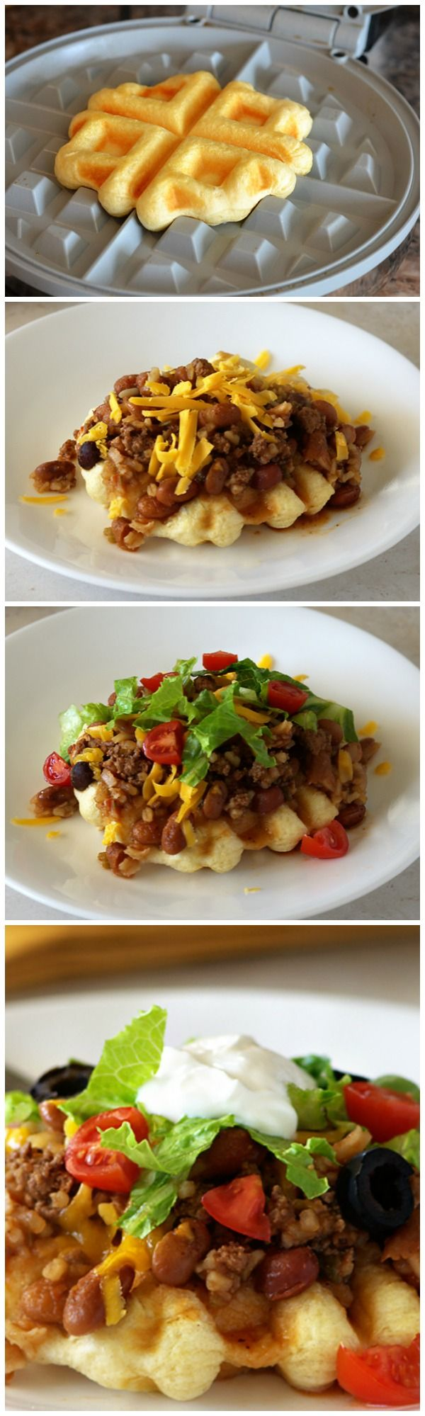 Swap Grands! biscuit-waffles for tostadas in these Tex-Mex Waffle Tacos!