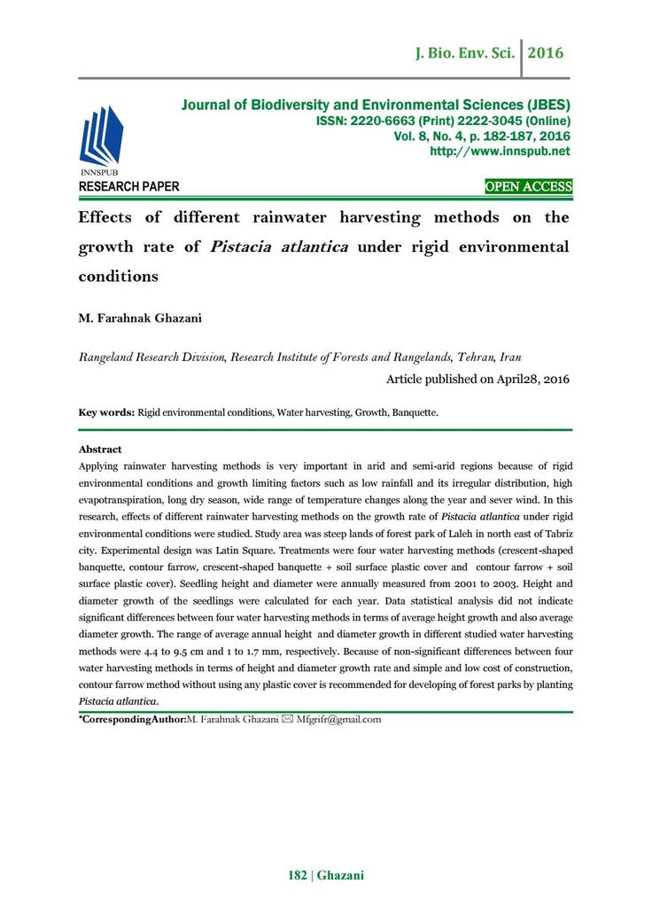 Effects of different rainwater harvesting methods on the growth rate of Pistacia atlantica under rig