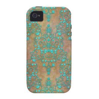 Aqua Teal over Brown Vintage Damask Design Vibe iPhone 4 Cover