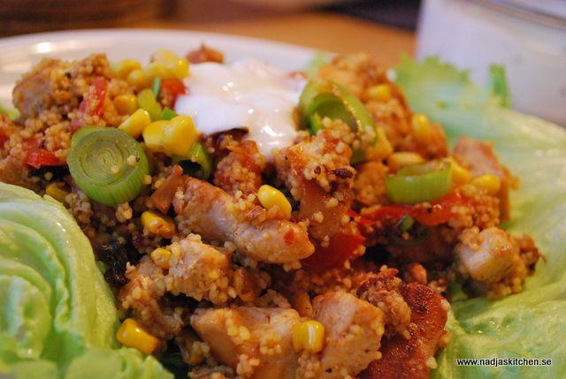 Mangocurry couscous med kyckling och grönsaker 5 Sp + ev Sp för matlagningsyoghurt