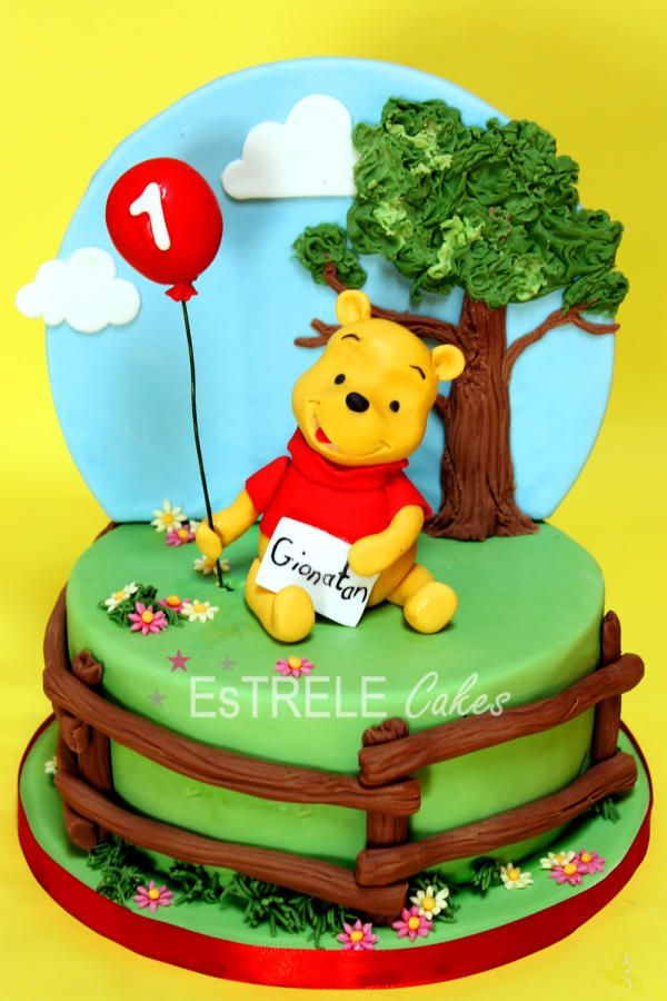 The request was for Winnie the Pooh, a letter, a balloon and the fence…..the rest was left up to me…..my favourite kind of cake :)