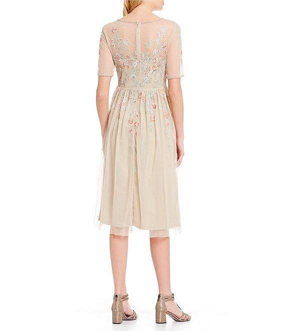 Adrianna Papell Ap1e205374 Beaded Bateau Knee Length A Line Dress Dresses Dress To Impress Fashion
