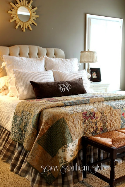Savvy Southern Style: Cozy In The Master  I <3 this bedroom ~ everything in it, but especially the bedding (quilt).