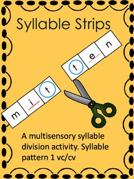 This is a wonderful multisensory syllable division activity. My students enjoy it and it is very effective in teaching syllable division pattern one (vc/cv). Your students will actually cut (with scissors) words into syllables! To prepare the lesson you simply print out the strips and cut them into individual words.