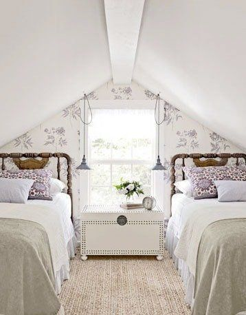Cottage and farmhouse attic bedrooms. DagmarBleasdale.com