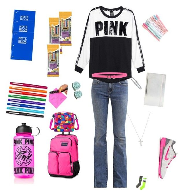 """""""forst day of spring semester"""" by slytherinbeauty on Polyvore featuring Levi's, NIKE, JanSport, Paper Mate, poppin., Mead, BIC, Wildkin, Inner Circle Jewelry and BERRICLE"""