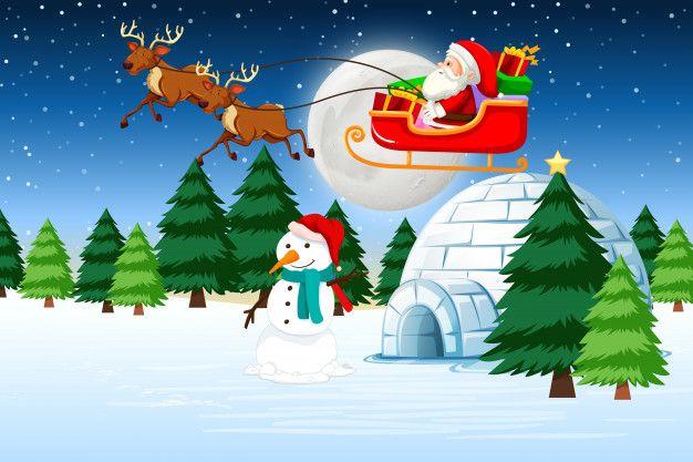 Scarica Gratis Una Slitta Trainata Da Santa Cour De Noel Decorations Image Noel Fond Ecran Noel