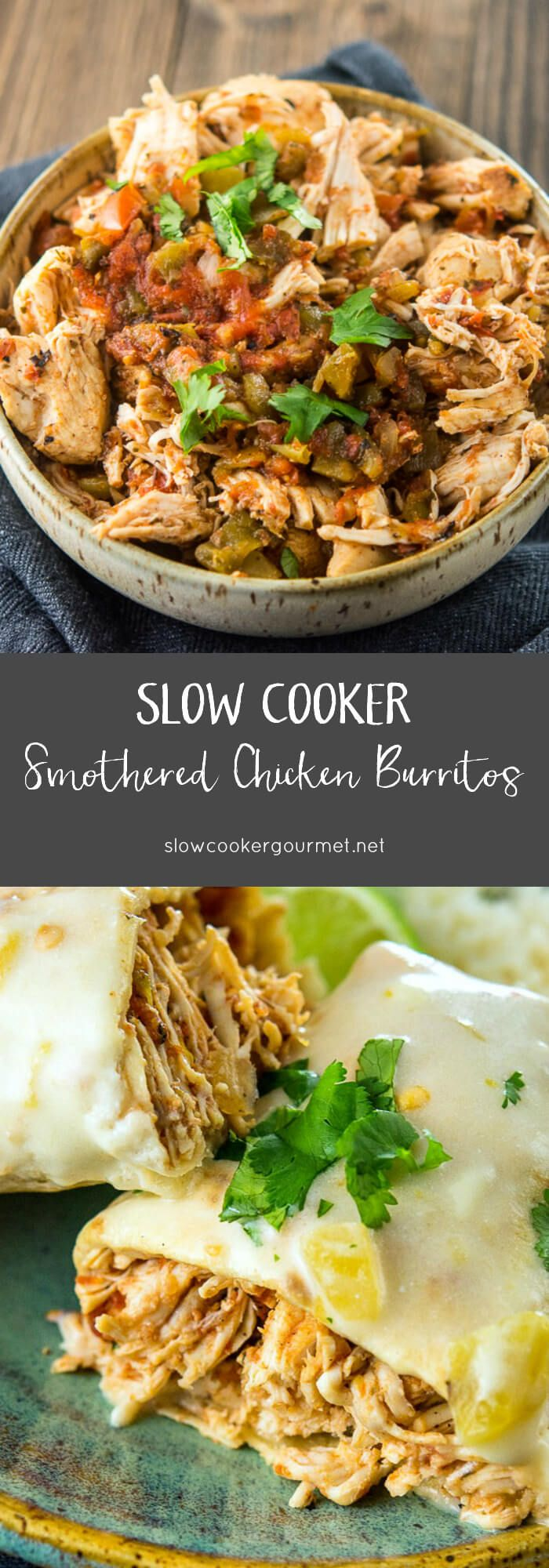 Slow Cooker Smothered Chicken Burritos are a simple way to make a delicious dinner! Flavorful Mexican style chicken stuffed into tender flour tortillas and baked until crispy.  Then it's all topped off with the most delicious sour cream cheese sauce!