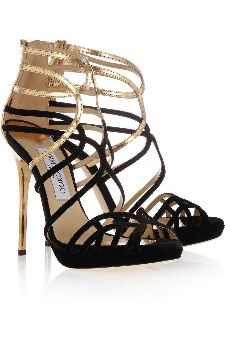 Sexy Strappy Jimmy ChooStilettos |Melvin velvet and metallic leather sandals|NET-A-PORTER.COM