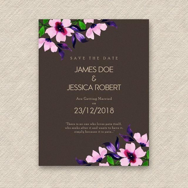 ألوان مائية الزهور زفاف بطاقة دعوة Wedding Invitation Cards Floral Wedding Invitation Card Invitations