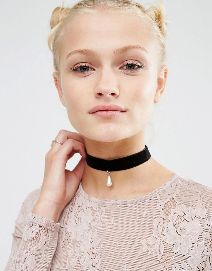Image 1 of ASOS Velvet Pearl Choker Necklace