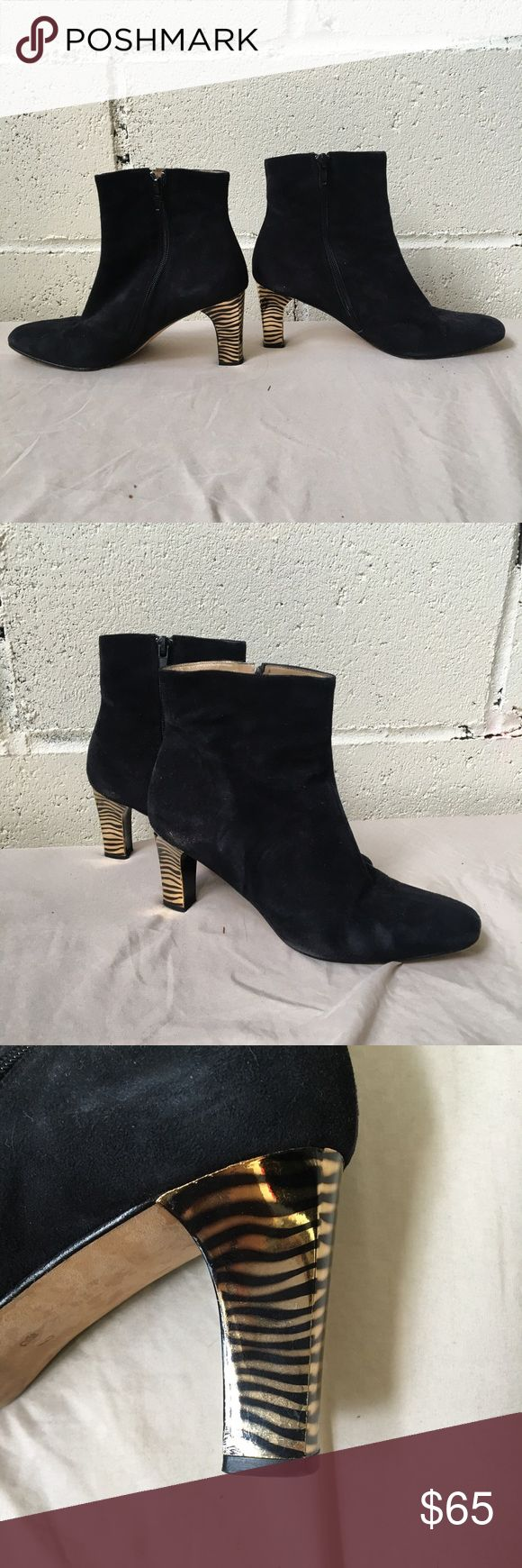Vintage Gold Zebra Heeled Boots Soft leather suede boot with gold zebra detailing on heel. Excellent condition! Shoes Ankle Boots & Booties