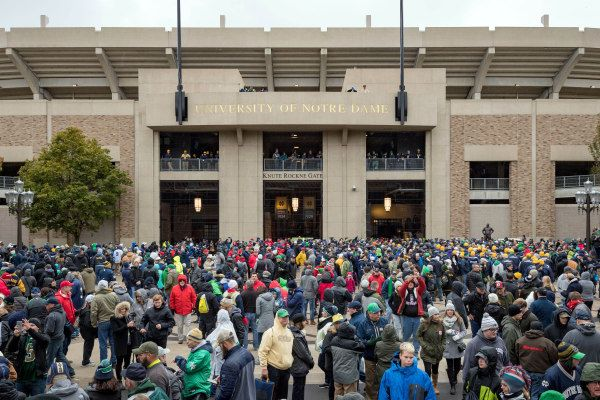 Oct 28, 2017; South Bend, IN, USA; Fans gather outside Notre Dame Stadium before the game between the Notre Dame Fighting Irish and the North Carolina State Wolfpack. Mandatory Credit: Matt Cashore-USA TODAY Sports