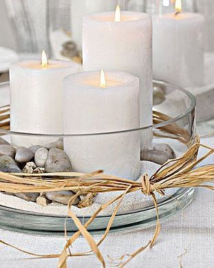 Really love the multiple candles in a bowl look <3