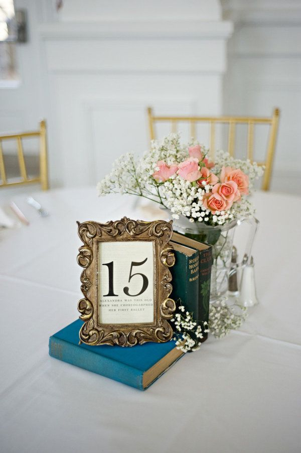 different idea for centerpieces - framed table number with some meaning or with framed pictures of us at that age