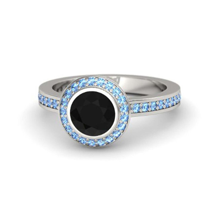 Round Cut Black CZ & Aquamarine .925 Sterling Silver Halo Ring For Women's #eightyjewels #Halo #AnySpecialDay