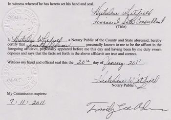 Notary seal on Timothy Adams' affidavit